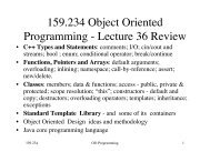 159.234 Object Oriented Programming - Lecture 36 Review
