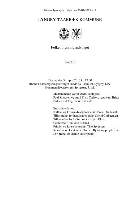 30. april 2013 referat - Lyngby Taarbæk Kommune