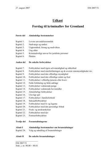 Forslag til kriminallov for Grønland - Inatsisartut