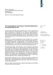 Høringssvar over kommentarer til forslag til bacheloruddannelse i ...