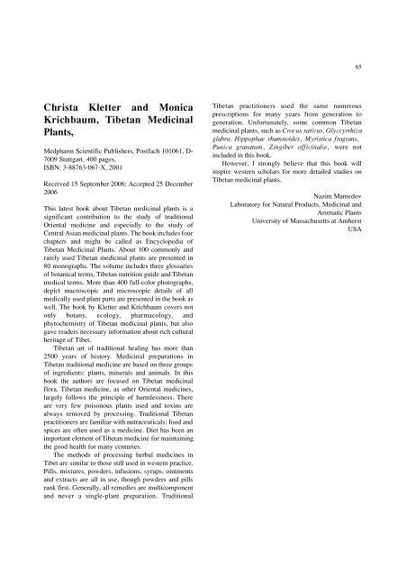 Christa Kletter and Monica Krichbaum, Tibetan Medicinal Plants,