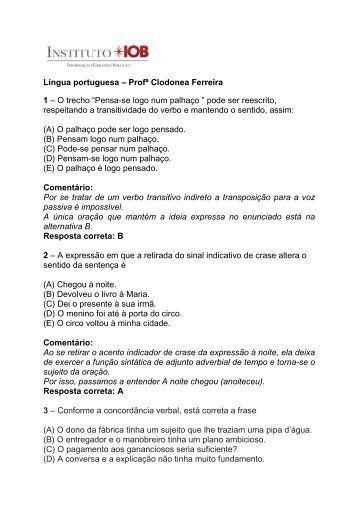 Documento Questões de língua portuguesa
