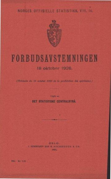 Forbudsavstemningen 18 oktober 1926 - SSB