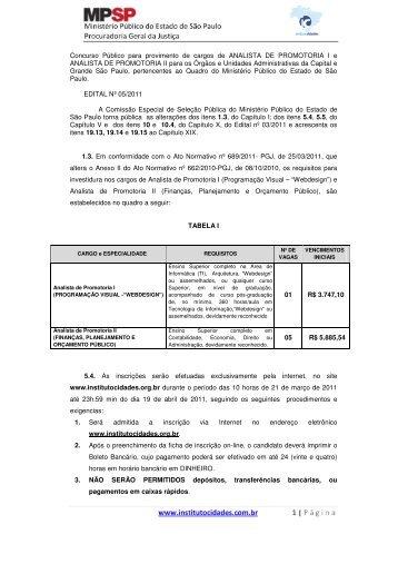 Edital Nº 05/2011 - Instituto Cidades