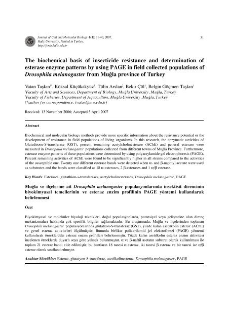 The biochemical basis of insecticide resistance and determination of ...