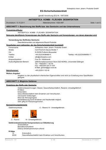 Sicherheitsdatenblatt Antiseptica Kombi-Flächendesinfektion