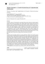 Markör Sistemleri ve Genetik Karakterizasyon Çalışmalarında ...