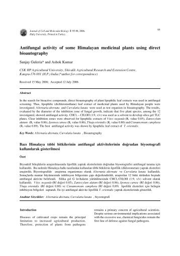 Antifungal activity of some Himalayan medicinal plants using direct ...
