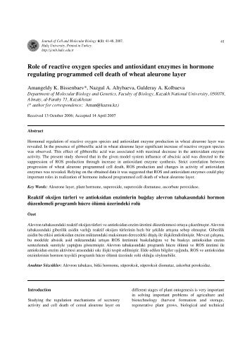 Role of reactive oxygen species and antioxidant enzymes in ...
