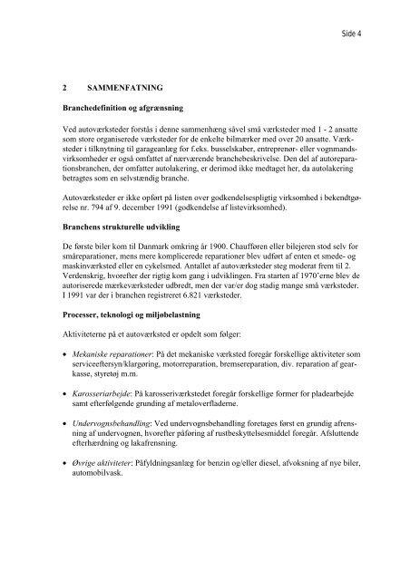 Branchebeskrivelse for Autoværksteder