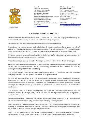 GENERALFORSAMLING 2013 - Stevns Garderforening