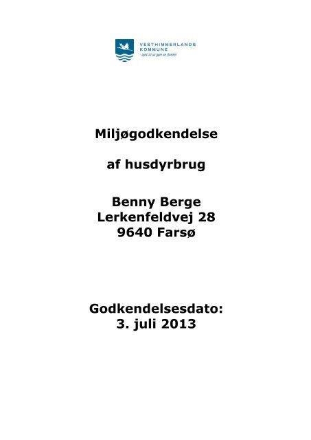 Udvidelse af minkproduktion - Vesthimmerlands Kommune