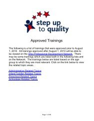 Approved Trainings - Ohio Department of Job and Family Services