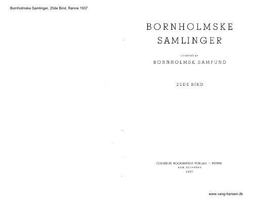 Bornholmske Samlinger - Bind 25 - 1937 - Bornholms Historiske ...
