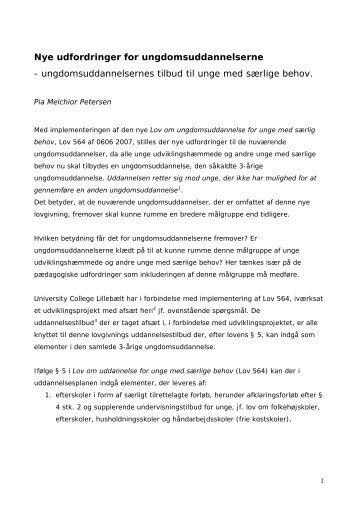 Nye udfordringer for ungdomsuddannelserne - University College ...