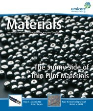 The Sunny Side of Thin Film Materials - Umicore Thin Film Products