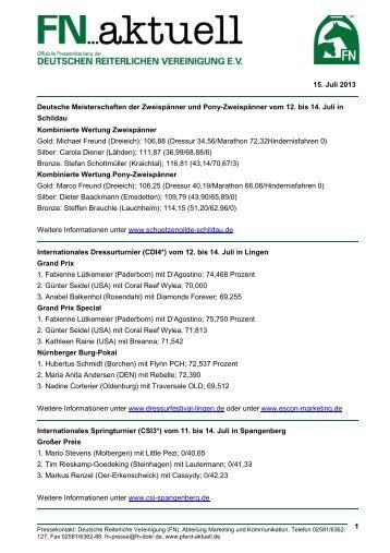 fn aktuell Ergebnisdienst 11 bis 14 July 2013