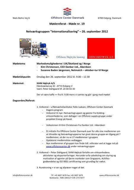 Document handed out - Offshore Center Danmark