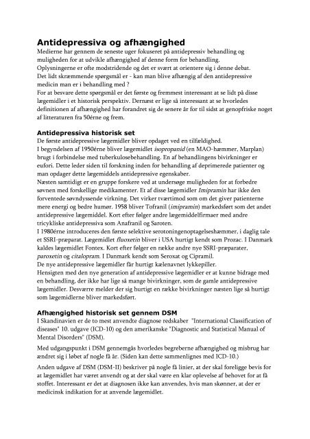 Antidepressiva og afhængighed - Jens Frydenlund