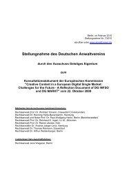 Stellungnahme des Deutschen Anwaltvereins - Europa