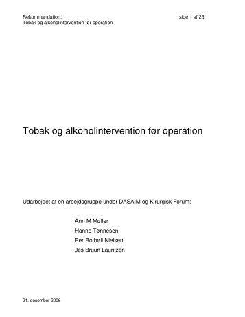 Tobak og alkoholintervention før operation