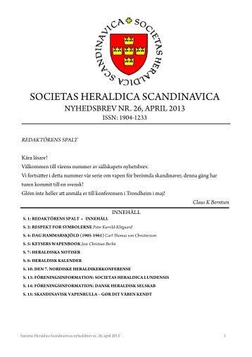 Nr 26 april 2013 - Societas Heraldica Scandinavica