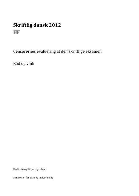 dansk a skriftlig eksamen hf