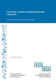 Forskning i kvalitet og patientsikkerhed i Danmark - KORA