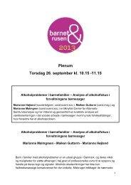 Plenum Torsdag 26. september kl. 10.15 -11.15 - Borgestadklinikken