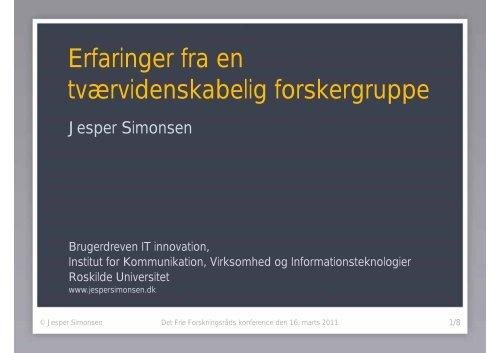 Erfaringer fra en tværvidenskabelig forskergruppe - Roskilde ...