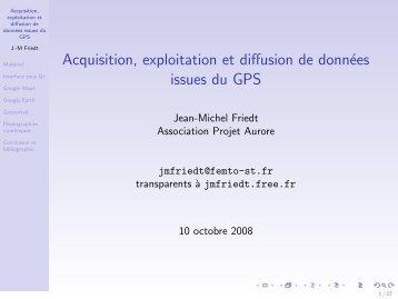 Acquisition, exploitation et diffusion de données ... - J.-M Friedt - Free