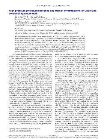High pressure photoluminescence and Raman ... - ResearchGate