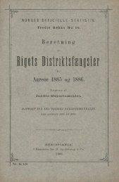 Beretning om Rigets Distriktsfængsler for Aarene 1885 og 1886
