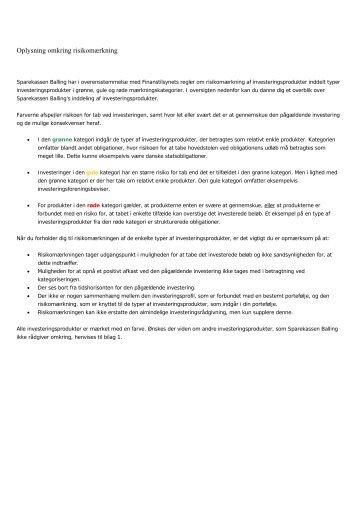 Læs her om risikomærkning af investeringsprodukter - Sparekassen ...