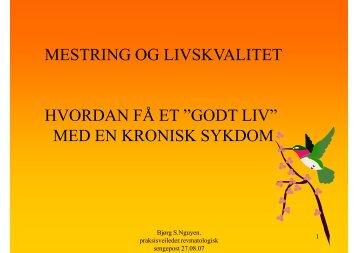 """MESTRING OG LIVSKVALITET HVORDAN FÅ ET """"GODT LIV"""" MED ..."""
