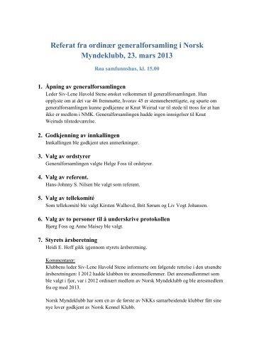 Referat fra ordinær generalforsamling i Norsk Myndeklubb, 23. mars ...