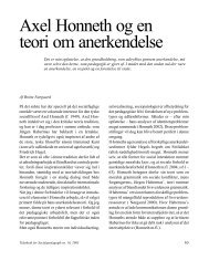 Axel Honneth og en teori om anerkendelse - Dansk Forening for ...