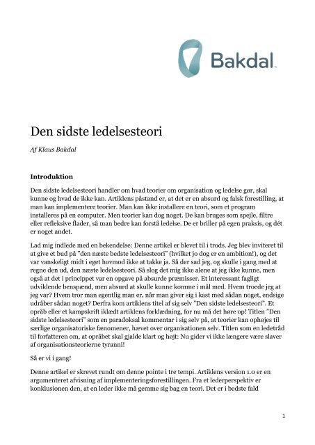 Den sidste ledelsesteori (Erhvervspsykologi 2011) - bakdal.dk