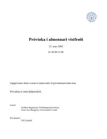 Próvtøka í almennari vistfrøði - Fróðskaparsetur Føroya