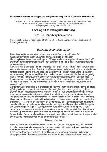Forslag til folketingsbeslutning om FN's handicapkonvention ... - PTU