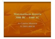 Matematikens historia 3000 BC – 1500 AC