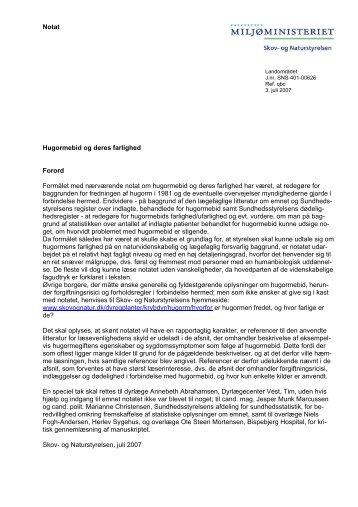 Notat Hugormebid og deres farlighed Forord ... - Naturstyrelsen