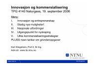 INNOVASJON OG KOMMERSIALISERING - Innovation and ... - NTNU