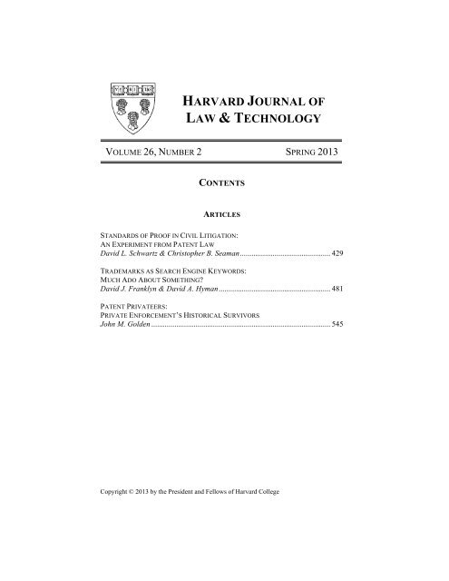 foto de Issue Table of Contents, Masthead, and Sponsors - Harvard Journal ...