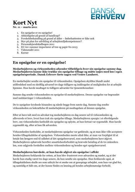 printvenlige udgave af Kort Nyt nr. 11 - marts 2011 - Dansk Erhverv