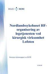 Nordlandssykehuset HF organisering av legetjenesten ... - Helse Nord