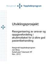 Jan Berg - Reorganisering av ansvar og ... - Helse Midt-Norge