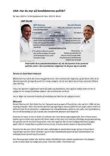 USA: Har du styr på kandidaternes politik? - VUF Historie hold 643