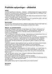 Praktiske oplysninger – alfabetisk - Islands Plads