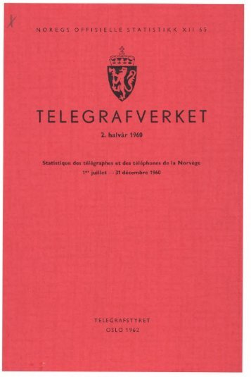 Telegrafverket 2. halvår 1960 - Statistisk sentralbyrå